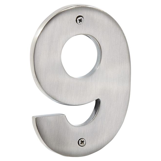 """Numéro de maison moderne, nickel antique, 5"""", -9-"""