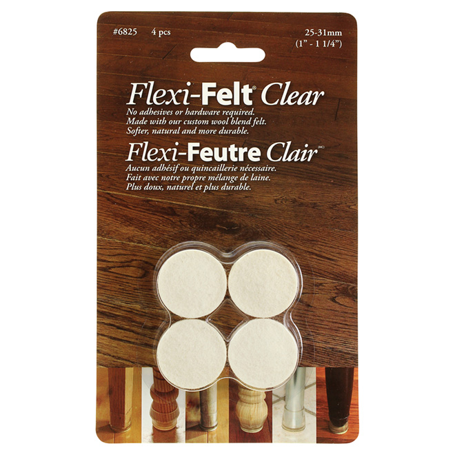 "Fused-Felt Plastic Leg Tips - Round - 1""-1 1/4"" - 4-Pack"