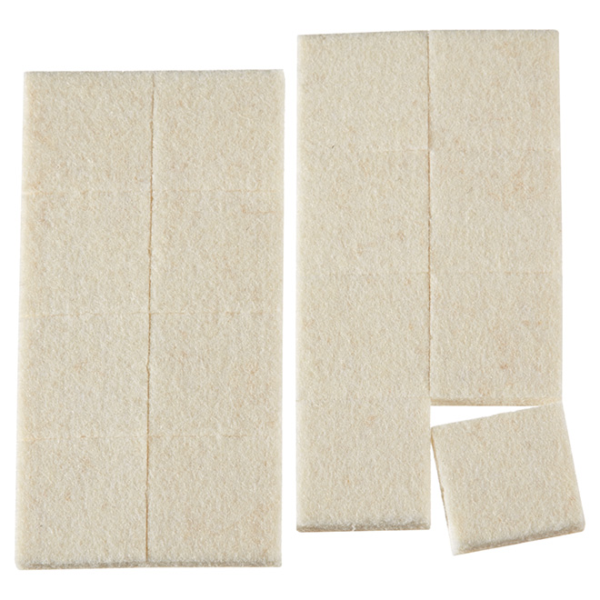 "Industrial strength Felt Pads - Square - 15/16"" - 16PK - Beige"