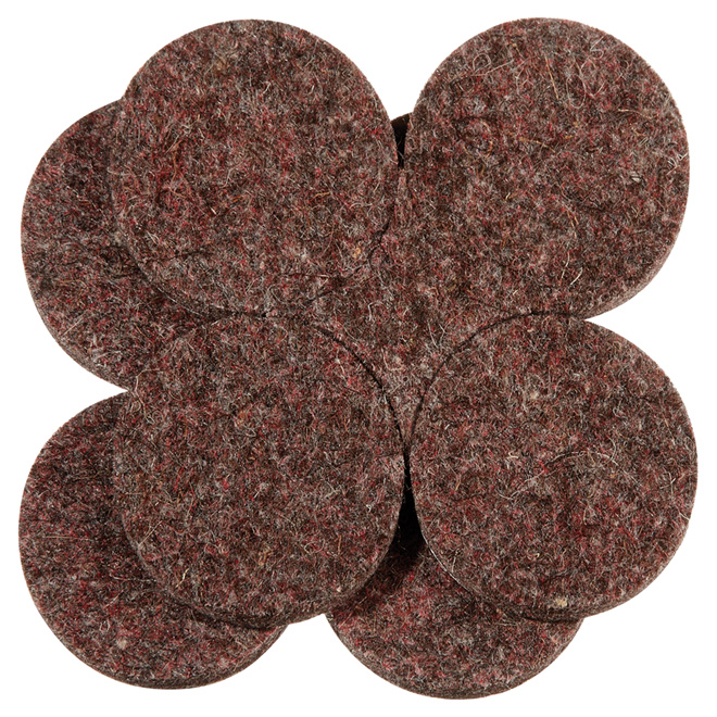 "Industrial strength Felt Pads - Round - 1 1/2"" - 8PK - Brown"