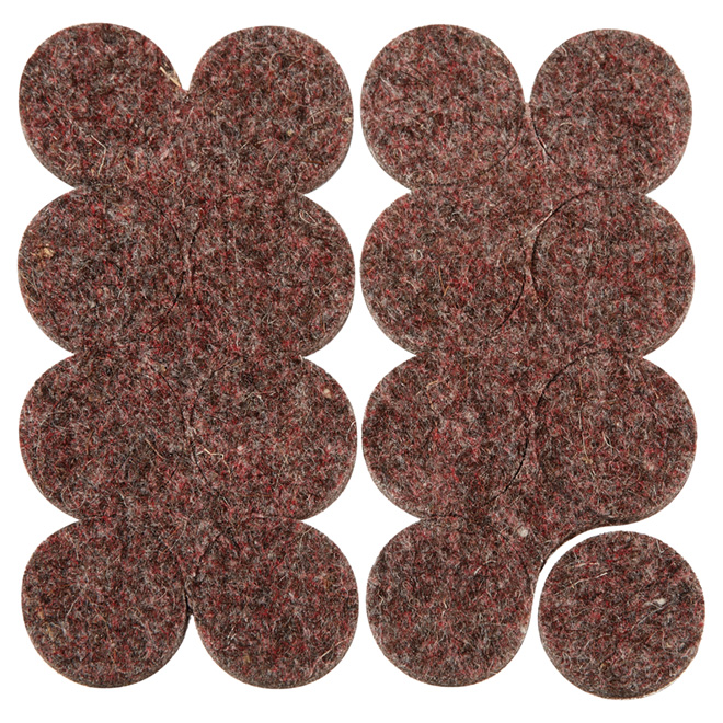 "Industrial strength Felt Pads - Round - 1"" - 16PK - Brown"
