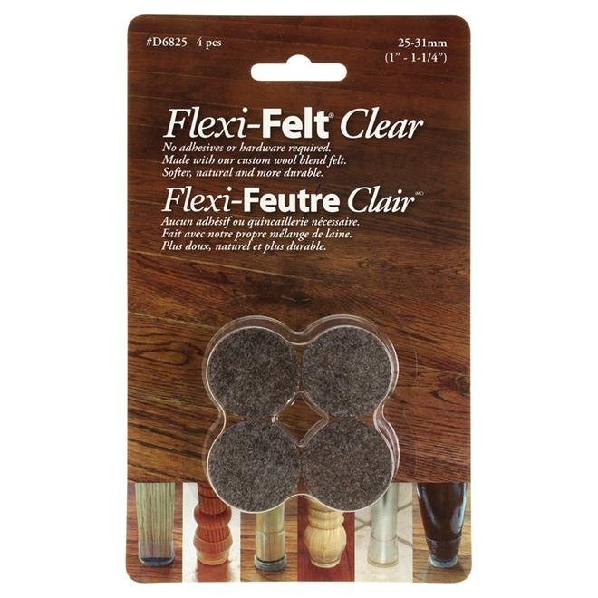"Fused-Felt Plastic Leg Tips - 1"" - 4PK - Brown"