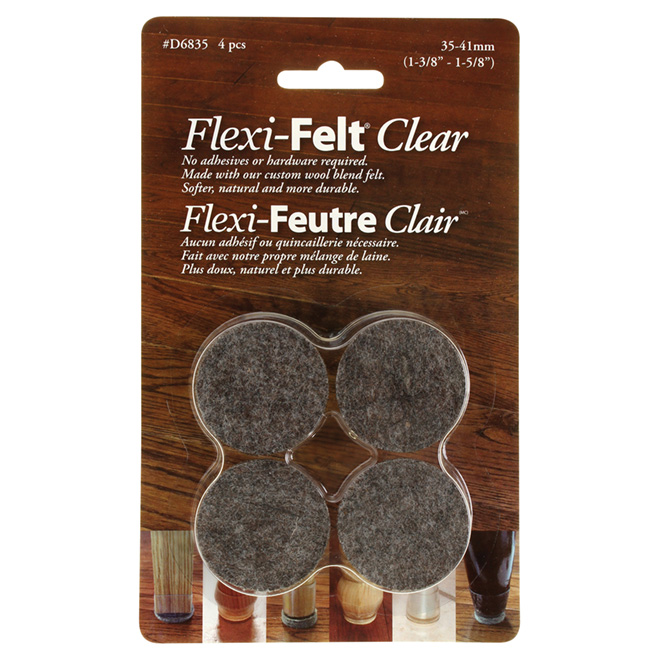 "Fused-Felt Plastic Leg Tips - 1 3/8"" - 4PK - Brown"