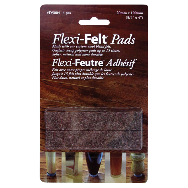 "Industrial strength Felt Pads - 3/4"" x 4"" - 4PK - Brown"