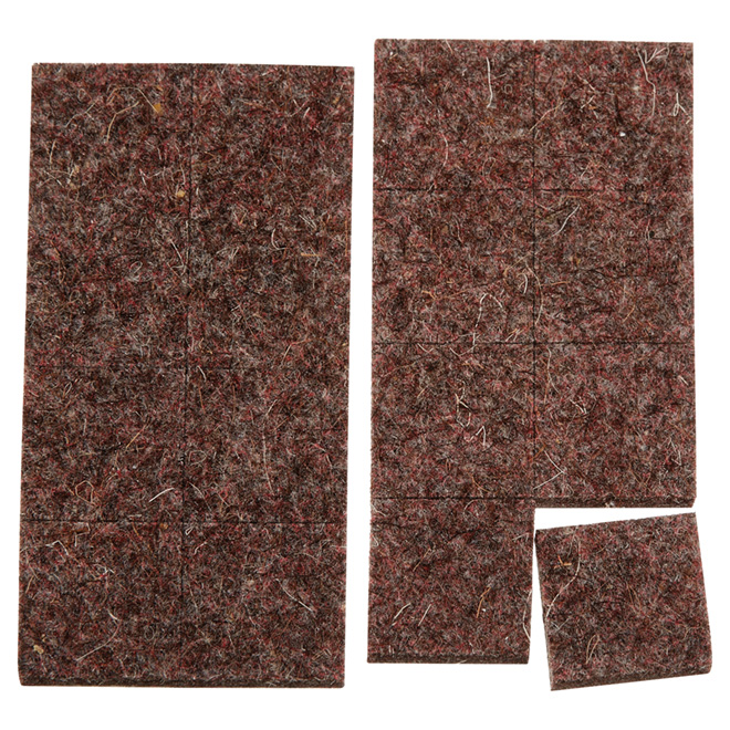 "Industrial strength Felt Pads - Square - 15/16"" - 16PK - Brown"
