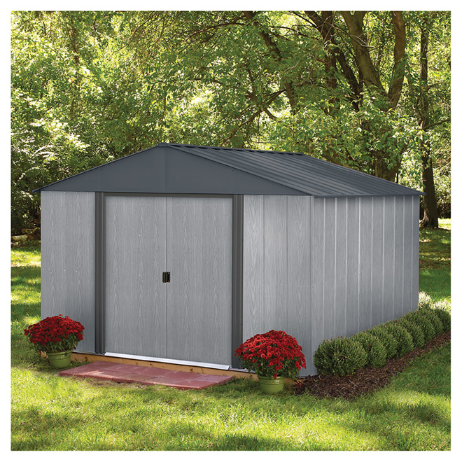 Storage Shed   10u0027 X 10u0027   Driftwood   Steel   Grey