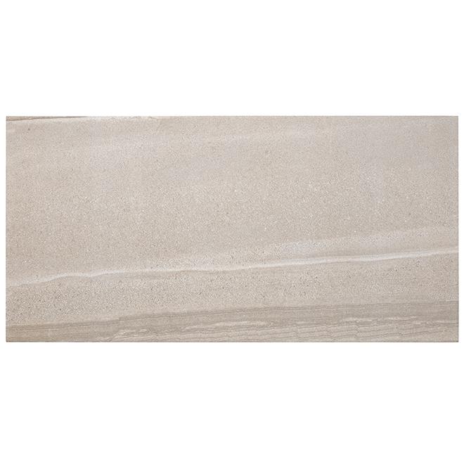 Tuile de porcelaine «Paros», 30 x 60 cm, taupe, 9/bte