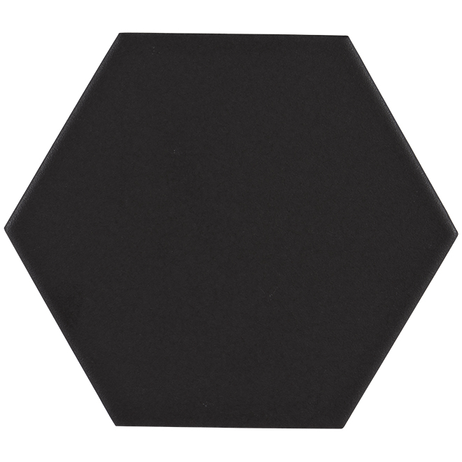"Hexagon Ceramic Tiles - 6"" x 7"" - Matte Black"