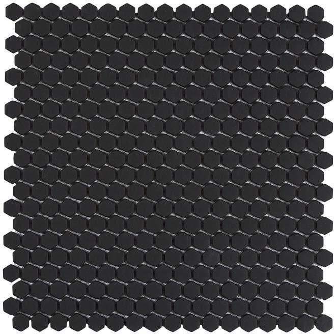 "Hexagon Ceramic Tiles - 12"" x 12"" - Matte Black"