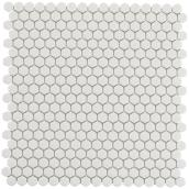 "Hexagon Ceramic Tiles - 12"" x 12"" - Matte White"