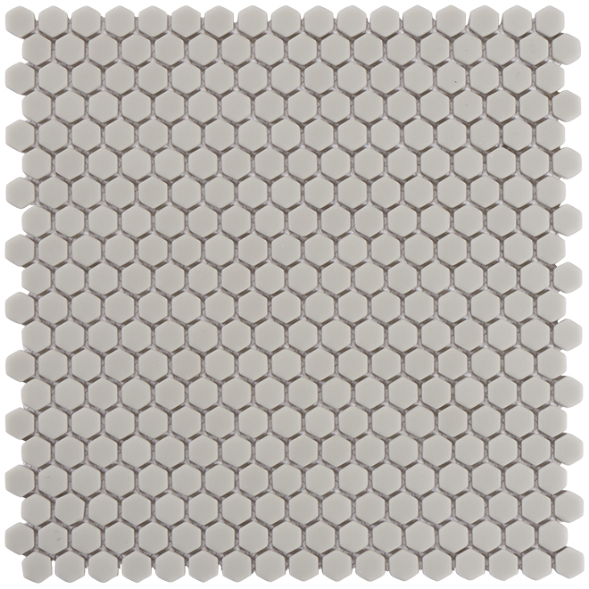 "Hexagon Ceramic Tiles - 12"" x 12"" - Matte Grey"