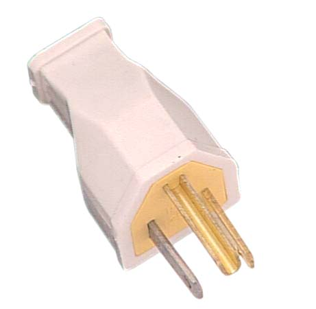 2-pole Plug - 3-Wire Grounding - 15A - White - Thermoplastic
