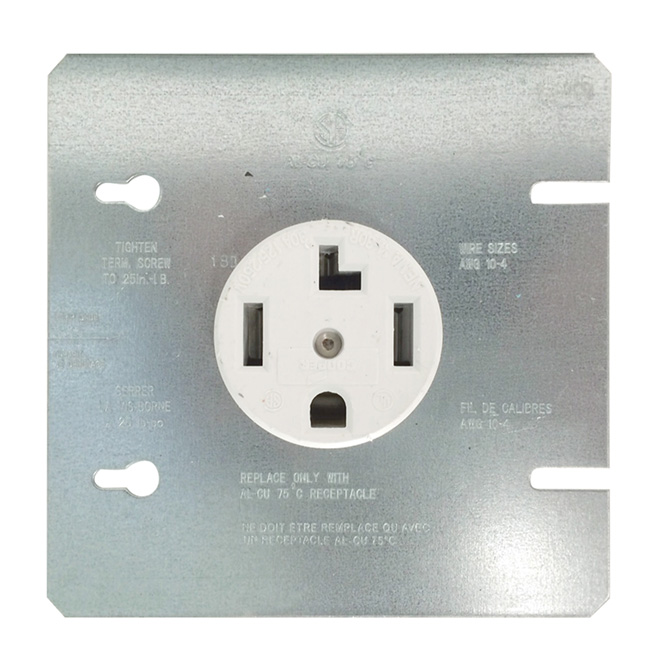 Dryer Receptacle - 30A - 125/250V - 3-Pole - White