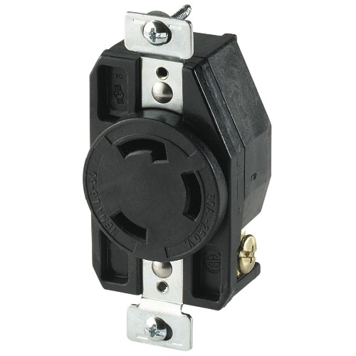 Locking Receptacle - Industrial - 2-Poles/3-Wires - 30A/250V