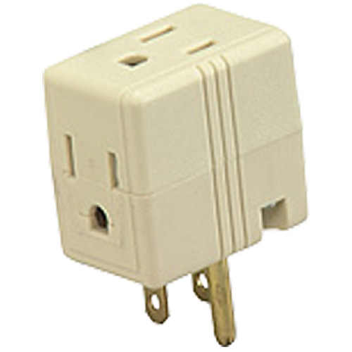 Transformer Tap - 3 Outlets - 125 V - 15 A - Ivory Colour