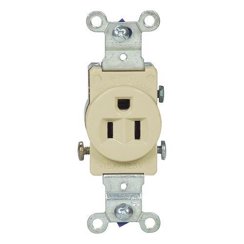 Single electrical receptacle - 15 A - 125 V - Ivory
