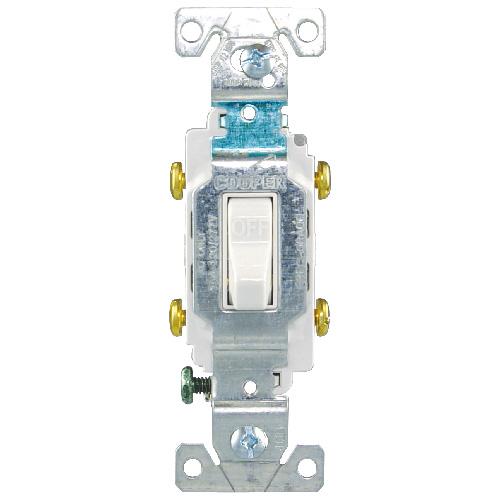 Interrupteur à bascule commercial, 15A, 120/277V, blanc