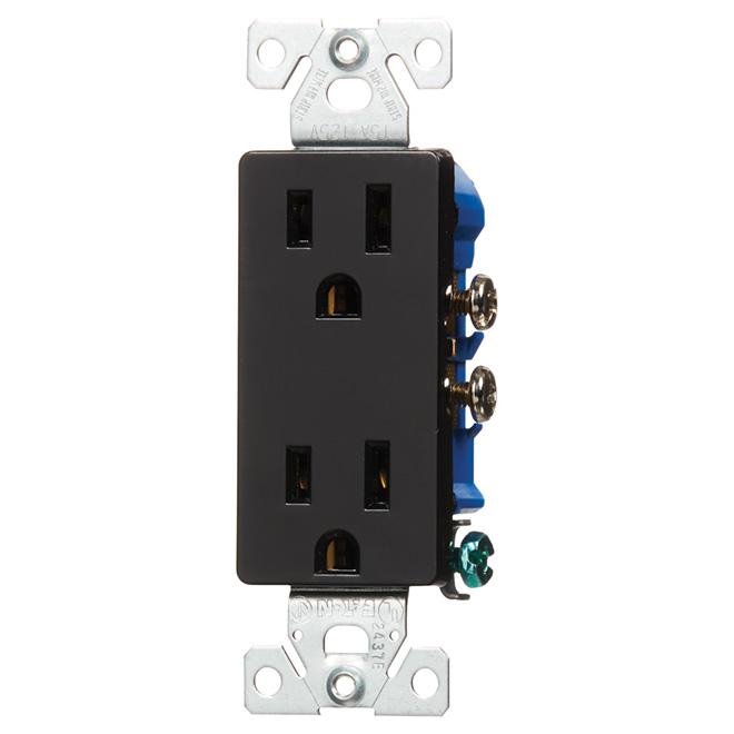 Duplex Receptacle - 2 Poles/3 Wires - 15A/125V, Black