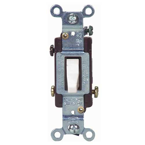 Interrupteur à bascule, 3 voies, 15A, 120/277V, blanc