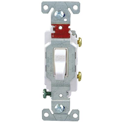 Toggle Switch Single Pole - 20 A/120V - 277-Gauge - White