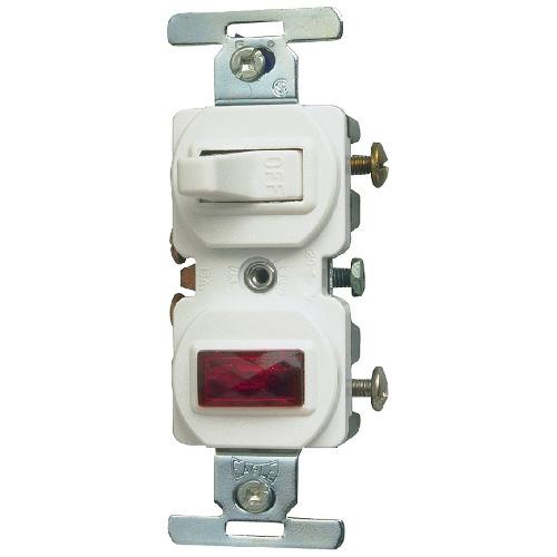 Switch Single Pole - Pilot Light - 15A/120V - White