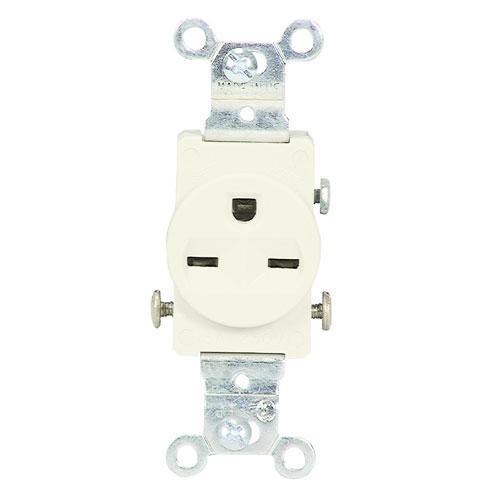 Prise simple, 15 A/250 V, 3F/2P, Blanc