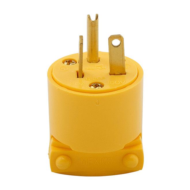 Two-Pole Plug - 3 Wires - 20A - NEMA6-20P - Yellow