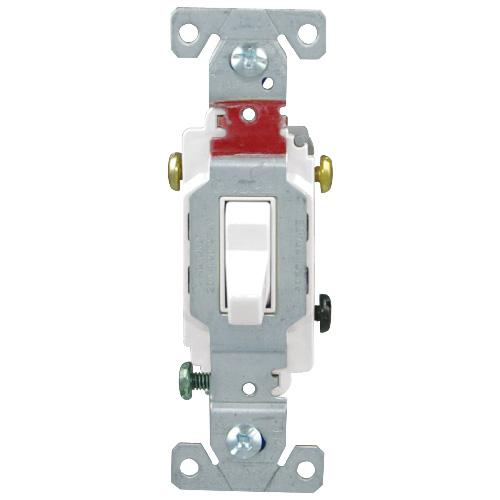 Interrupteur à bascule, 3 voies, 20A 120/277VAC, blanc