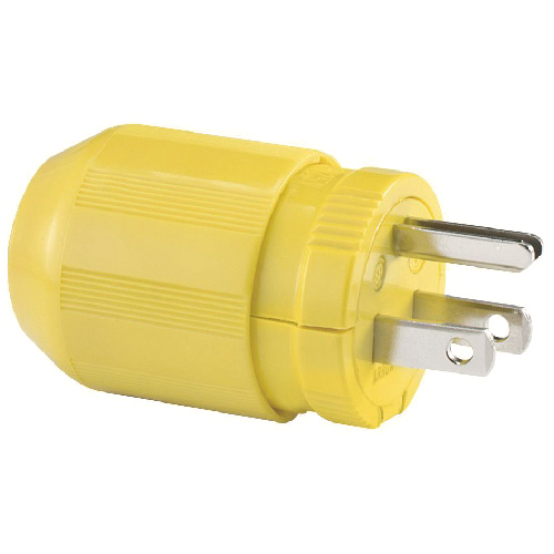 2-Pole Straight Blade Plug - 3 Wires - 15 A - Yellow