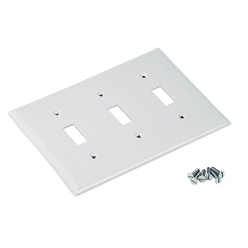 Plaque d'interrupteur standard, 3 bascules, blanc
