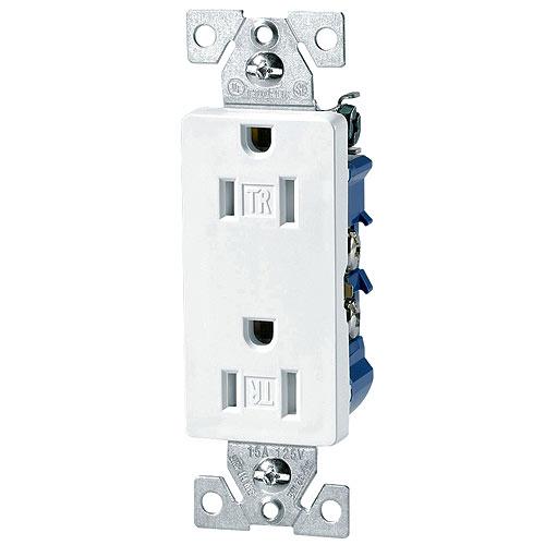 Prise double sécuritaire, 15 A, 125 V, thermoplastique, 10/pqt