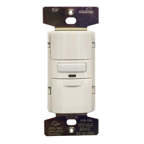 Interrupteur avec détecteur de mouvement Eaton, plastique blanc, 3 voies, marche/arrêt automatique