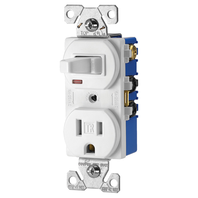 Toggle Switch and Receptacle - 15A - 125V - White
