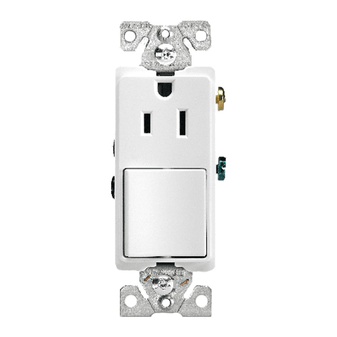 Toggle Switch and Receptacle - 15A - 120V - White