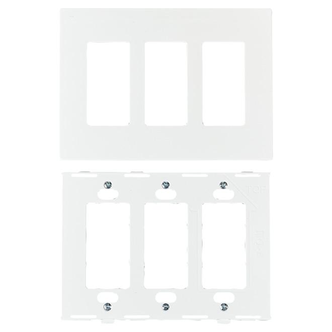 Screwless Wall Plate - 3-Gang - White