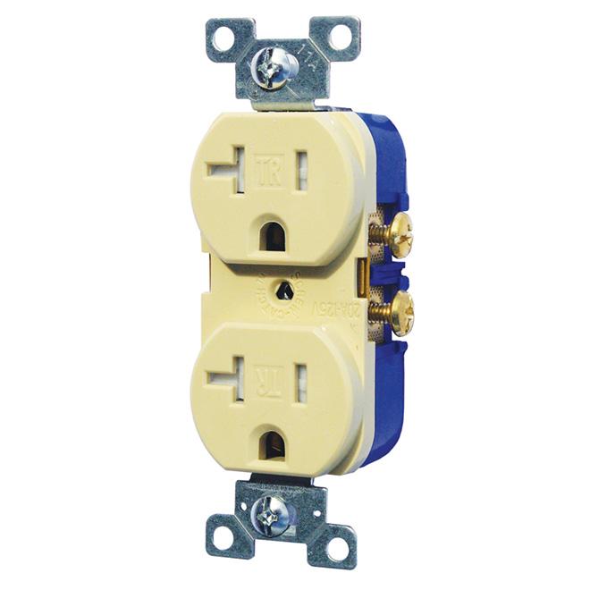 125 VAC/20 A Tamper Duplex Receptacle 2 Poles/3 Wires