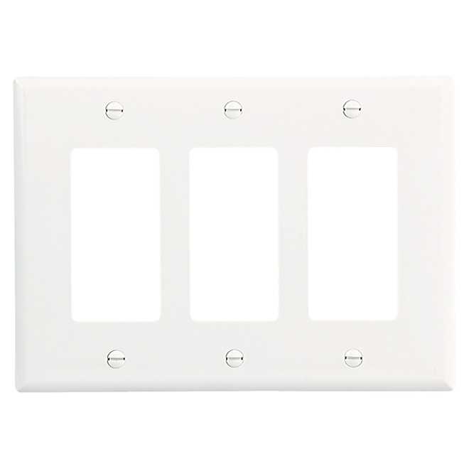 Decorator Wall Plate - 3-Gang - Mid Size - White