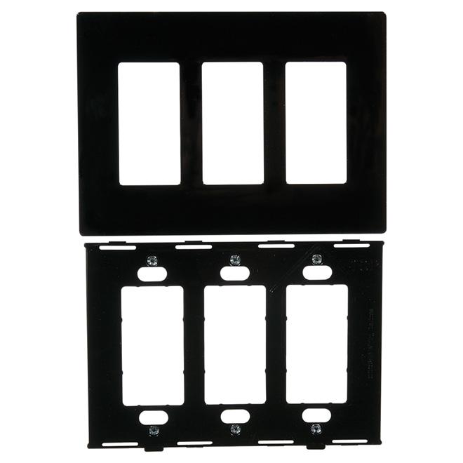 """Decorator"" Wall Plate - 3-Gang - Black"