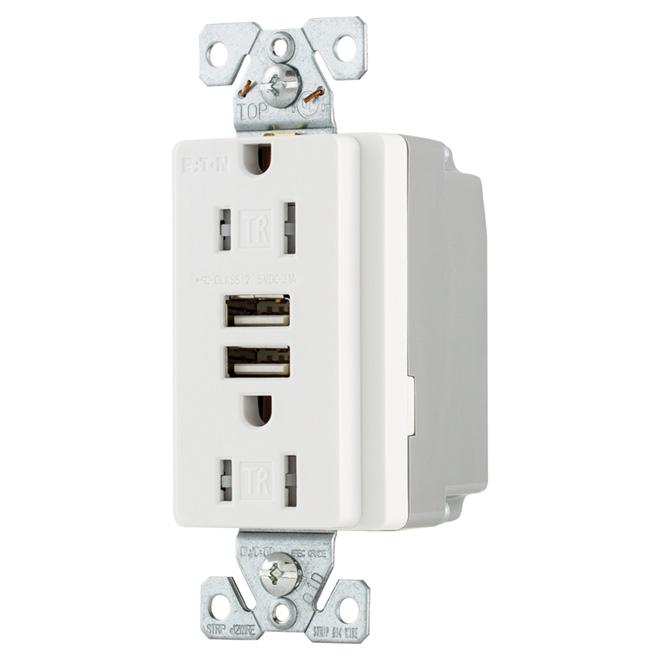 Prise duplex à 2 chargeurs USB