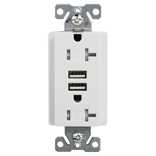 Wall Receptacle/USB Outlet - 20 A - White