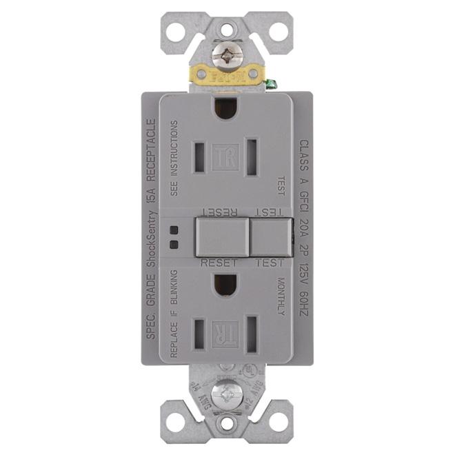 Self-testing GFCI receptacle - 15 A; 125 V - Grey