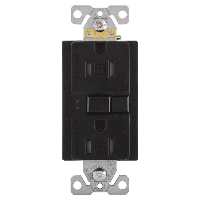 Self-testing GFCI receptacle - 15 A; 125 V - Black