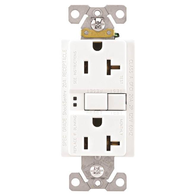 Self-testing GFCI Receptacle - 20 A; 125 V - White
