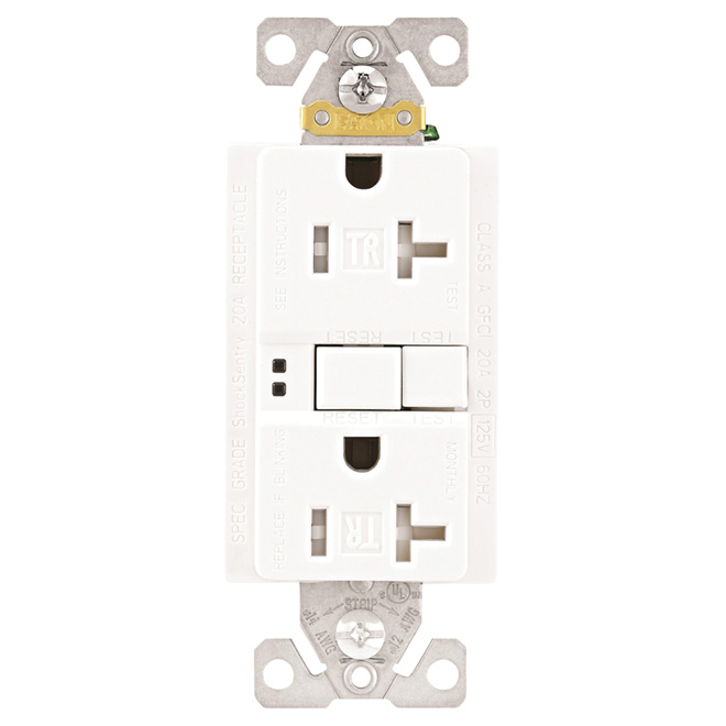 GFCI Receptacle - Self-Test - 20 A - 125 V - White