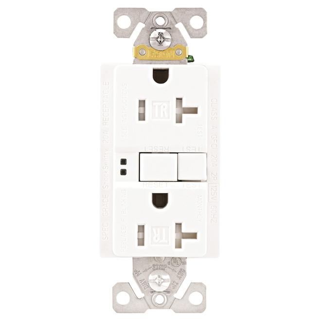 Prise DDFT avec auto-vérification, 20 A, 125 V, blanc