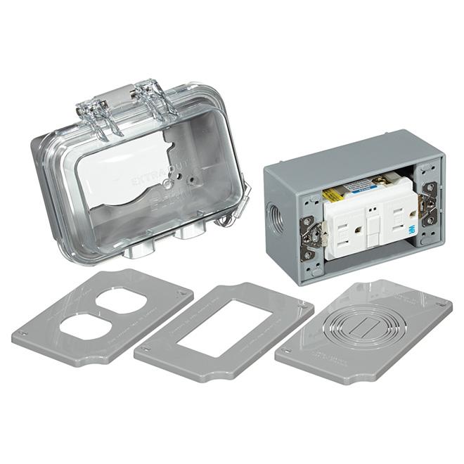 GFCI Weather Box - 15A 125v/AC - Horizontal - Grey