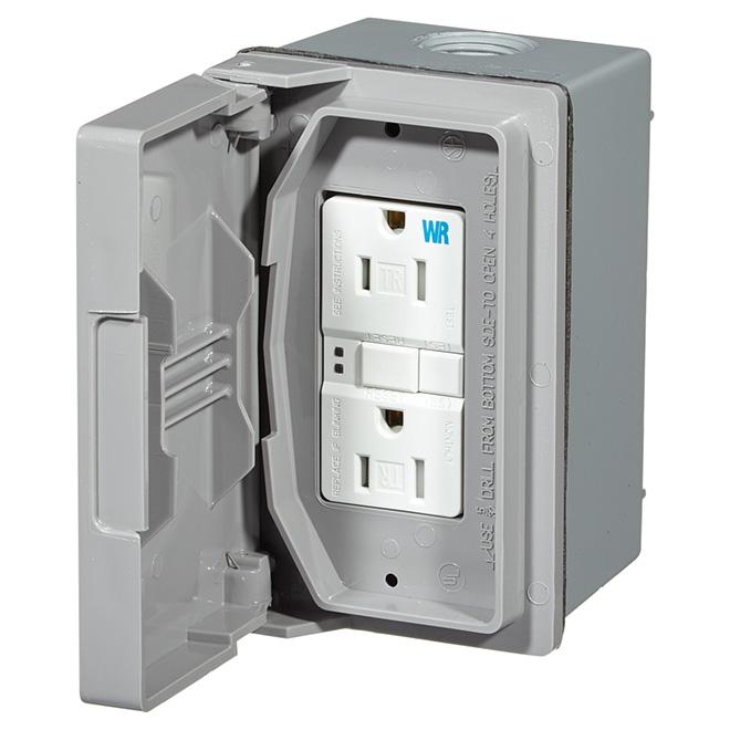 Boîte étanche DDFT, 15A 125V, gris