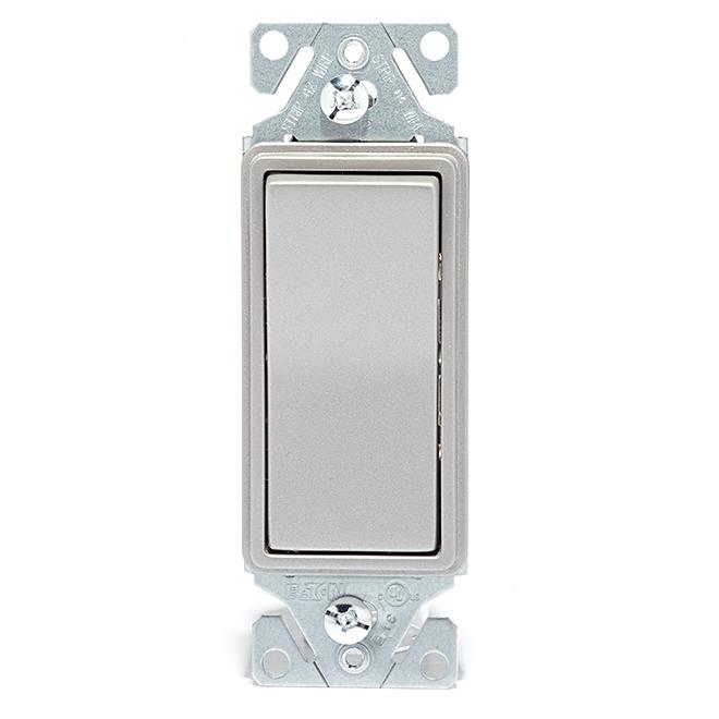 Interrupteur décorateur unipolaire, 15A, 120V, argent