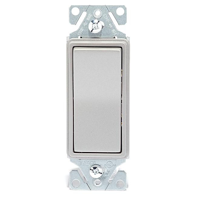 Interrupteur décorateur à 3voies, 15A, 120V, argent