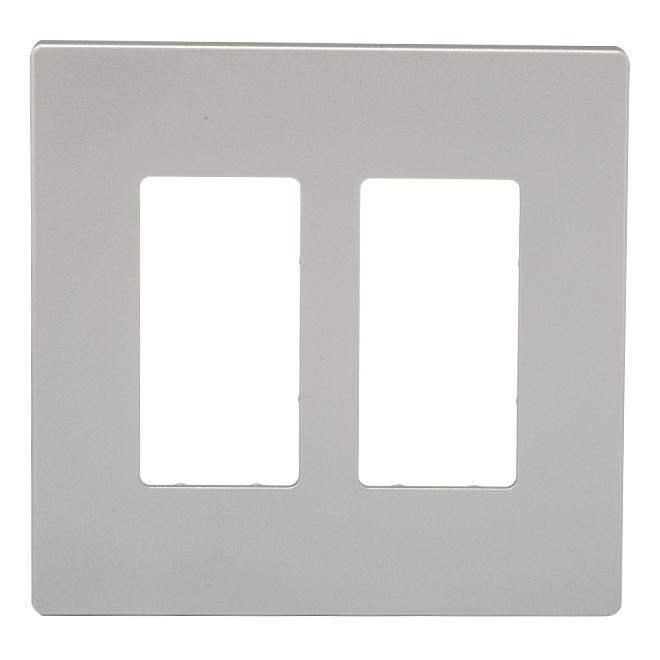 Screwless Wall Plate - 2-Gang - Silver